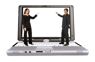 Business couple with laptop