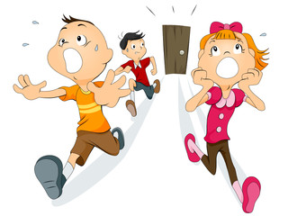 Scared Children running away from the door