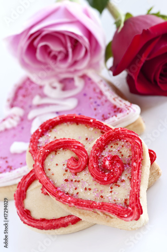 Valentines cookies and roses