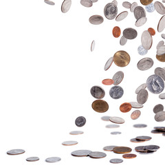 American coins falling to the ground