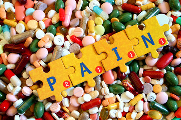Drugs and puzzle letter -pain