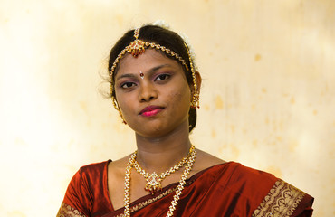 half portrait of a tamil bride
