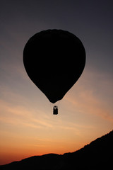 Hot air balloon with sunset