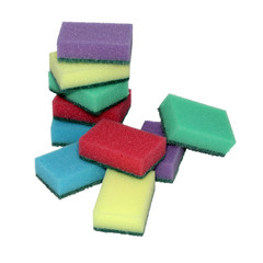 Colored sponges for washing dishes.