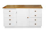 White Chest of Drawers with path poster