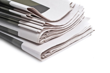 close up detail of international newspapers