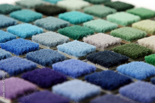 canvas print picture Samples of color of a carpet covering closeup