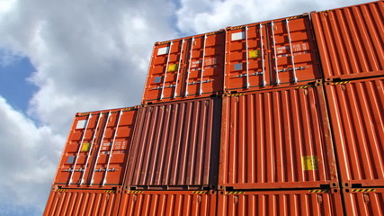 Containers in port against sky time lapse of a