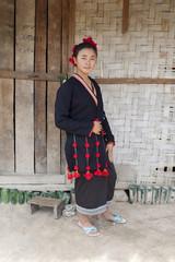 Asiatische Frau in Tracht, Laos
