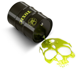 Barrel throwing toxic liquid (skull shaped pool)