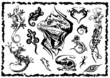 vector illustration tattoo design set (lizards)