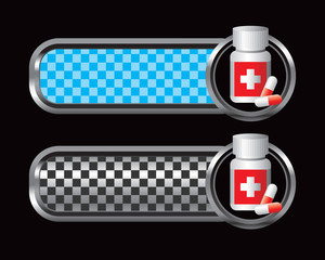 Medicine bottle on blue and black checkered tabs