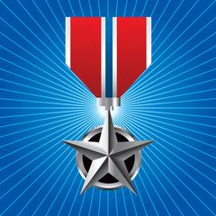 Military medal on blue starburst