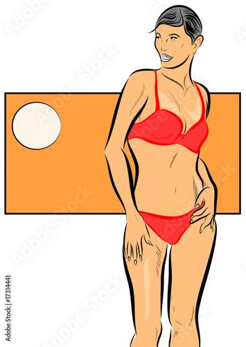 femme mince en bikini pose main sur la hanche