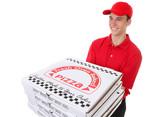 Man Delivering Pizzas poster