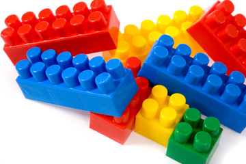 colorfu l building blocks on white background