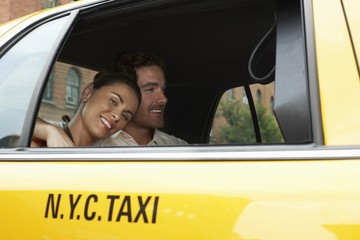 couple in taxi
