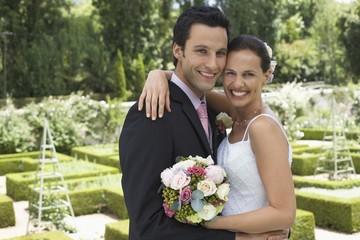 Happy Wedding Couple Outdoors