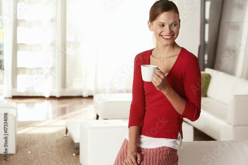 businesswoman in office lobby