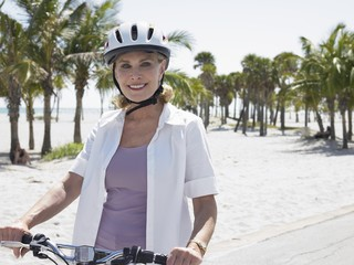 senior woman cycling