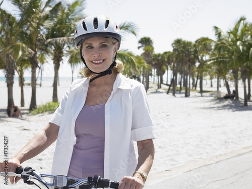 senior woman cycling
