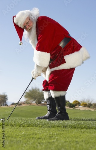 Santa Claus Playing Golf