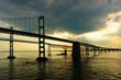 Leinwandbild Motiv Chesapeake Bay Bridges from a cruise ship deck