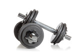 Set of Weightlifting dumbbells on a white background poster