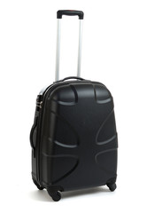 Black travel bag with polka dots and a handle