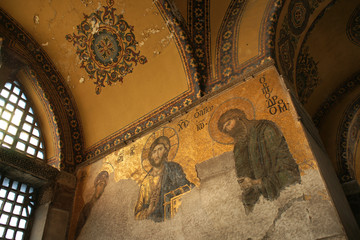 Byzantine mosaik into Hagia Sophia (Istanbul, Turkey)