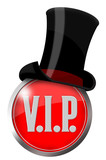 button vip icon v.i.p. label logo zylinder hut cap edel