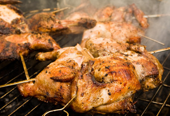 Grill-roasted chickens