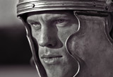 Roman soldiers. Close-up face.