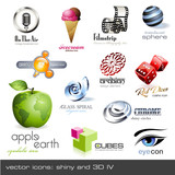 Fototapety vector icons: shiny and 3d - set 4
