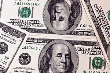 One hundred dollar banknotes background