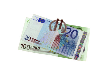 Euro bank notes on a white background