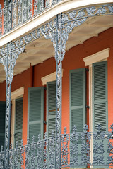 Ornate ironwork gallery in French Quarter house