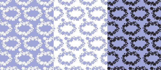 Floral seamless pattern in three color variations