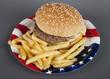 Hamburger auf Pappteller Amerika