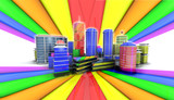 3D colorful city rainbow background