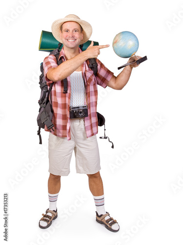 smiling tourist with globe