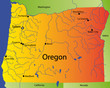 detailed vector map of oregon state, usa
