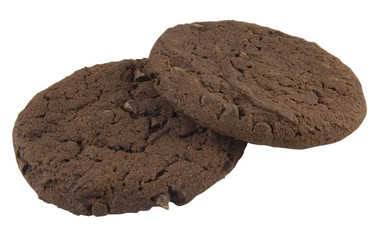 two chocolate cookies isolated on white background