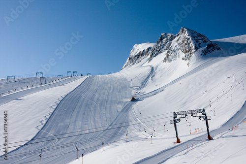 Ski slope in high alps