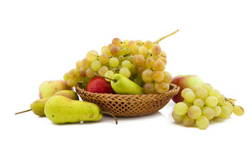 .Apples, pears and grapes appetizing autumn fruit