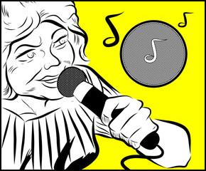 femme agée qui chante avec le micro dans sa main