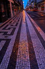 Baixa in Lissabon bei Nacht