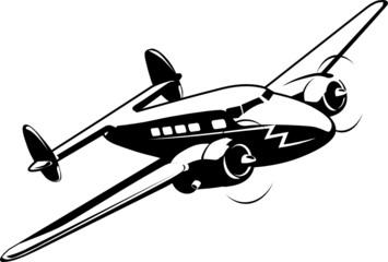Cartoon retro airplane Super Electra