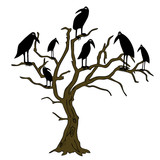 ravens on the rampike - vector poster