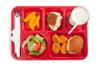 School lunch tray with food on it on a white backgrounf - 17360846